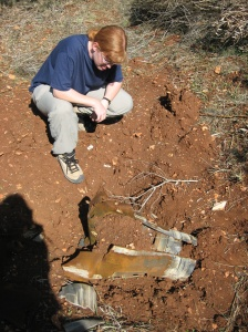 Lecturer on Law Bonnie Docherty, also a senior researcher in the arms division of Human Rights Watch, examines a cluster munition in Lebanon